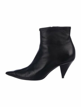 Celine Leather Pointed-Toe Boots Black