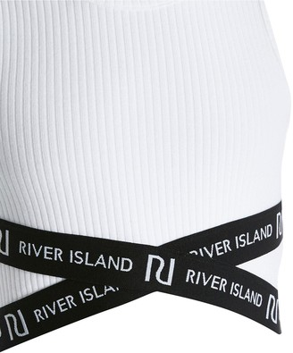 River Island Girls Cross Over Cropped Top -White