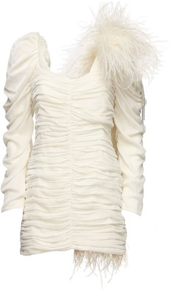 Magda Butrym Exclusive Draped Mini Dress W/ Feathers