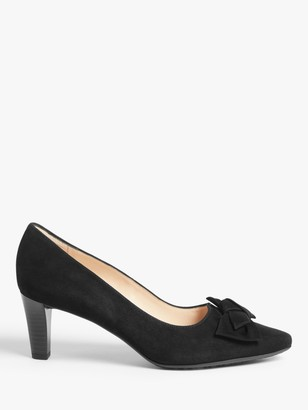 Peter Kaiser Mallory Suede Mid Heel Pointed Toe Court Shoes, Black