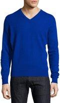 Neiman Marcus Cashmere V-Neck Sweater, Blue