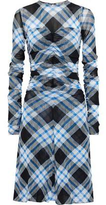 Diane von Furstenberg Ruched Checked Mesh Dress
