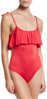 Jets Tie-Shoulder Ruffled Popover One-Piece Swimsuit, Red