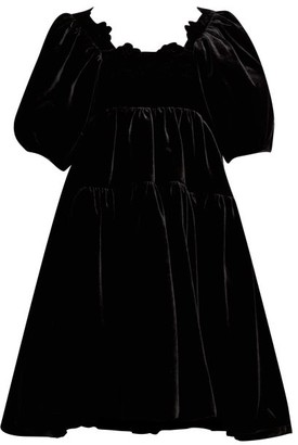 Cecilie Bahnsen Aviaja Puff-sleeve Tiered Velvet Dress - Black