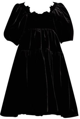 Cecilie Bahnsen - Aviaja Puff-sleeve Tiered Velvet Dress - Womens - Black