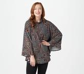 Susan Graver Printed Sweater Knit Mock-Neck Poncho