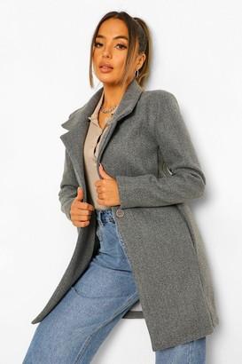 boohoo Petite Button Front Wool Look Coat