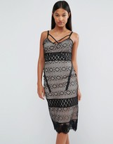Boohoo Lace Panel Cami Midi Dress