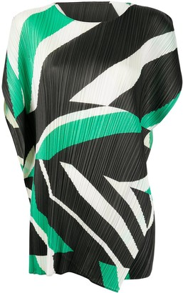 Pleats Please Issey Miyake Pleated Colour-Block Mini Dress