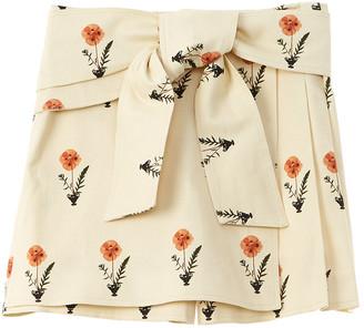 Oscar de la Renta Pressed Flower Tie-Front Skort