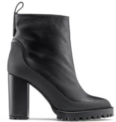 HUGO BOSS Block Heel Booties In Nappa Leather With Rubber Lug Sole - Black