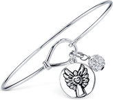 Unwritten Angel Disc and Pavé Ball Charm Bangle Bracelet in Sterling Silver