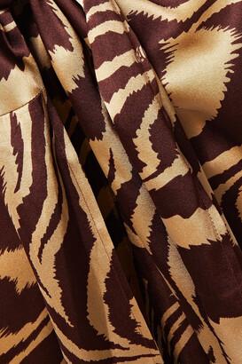 Ganni Knotted Tiger-print Stretch-silk Satin Midi Skirt