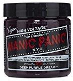 Manic Panic Semi-Permament Haircolor Deep Purple 4oz Jar (2 Pack)