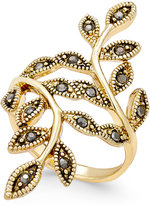 INC International Concepts Gold-Tone Black Crystal Bypass Vine Ring, Only at Macy's