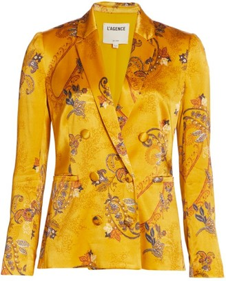 L'Agence Colin Paisley Double-Breasted Satin Blazer