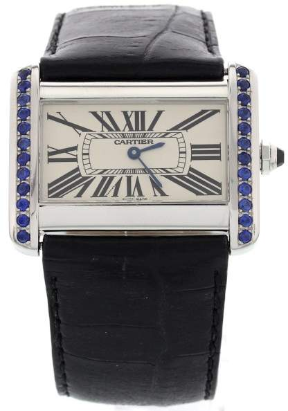 Cartier 2600 Tank Divan Sapphire Stainless Steel Unisex Watch