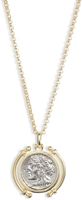 Adina's Jewels Two-Tone Coin Pendant Necklace