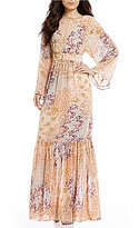 WAYF Viola Printed Bell Sleeve Maxi Dress