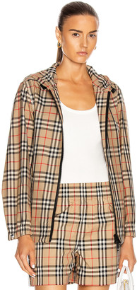 Burberry Hooded Jacket in Archive Beige Check | FWRD