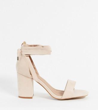 ASOS DESIGN Wide Fit Howling tie leg Block Heeled Sandals