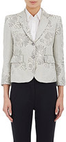 "Thom Browne WOMEN'S ""LITTLE BOY\"" JACQUARD PLEATED-BACK JACKET-LIGHT GREY SIZE 38 IT"