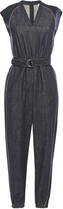Brunello Cucinelli Cropped Silk Satin-trimmed Bead-embellished Denim Jumpsuit
