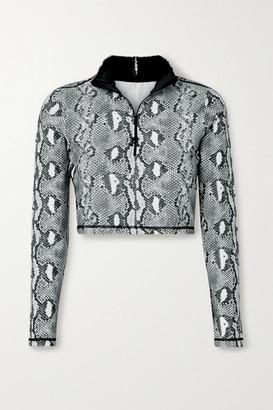 Adam Selman Sport Snake-print Stretch Top - Gray