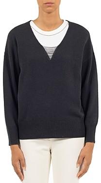Peserico V Neck Chain Trim Sweater