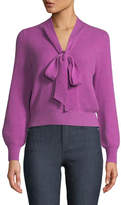Co V-Neck Tie-Collar Ribbed Wool-Cashmere Pullover Sweater