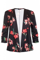 Quiz Curve Black And Red Floral Print 3/4 Sleeve Jacket