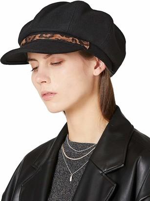 HIKARO Amazon Brand Womens Wool Winter Visor Beret 8 Panel Peaked Hat Newsboy Baker Boy Cap Fashion Lerpord Band Black
