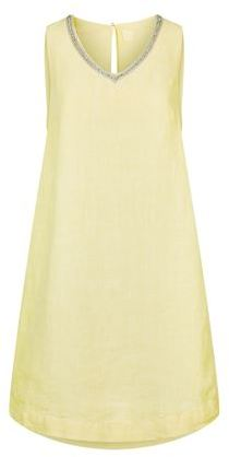 120% Lino Embellished V-Neck Linen Dress