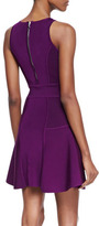 Milly Knit Fit-&-Flare Dress, Plum