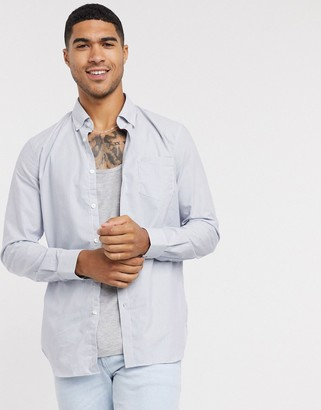 Lacoste oxford long sleeve shirt in grey