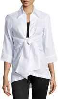 Neiman Marcus Linen Tie-Front Blouse, White