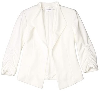 Calvin Klein Cinch Sleeve Flyaway Jacket (Soft White) Women's Clothing