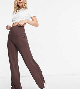 Flounce London Petite basic high-waisted wide-legged pants in chocolate brown