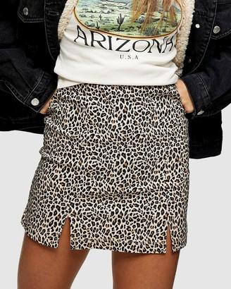 TOPSHOP Petite - Women's Brown Mini skirts - Petite Leopard Print Stretch Mini Skirt - Size 4 at The Iconic
