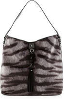 Moschino Tiger-Print & Leather Tassel Tote, Gray