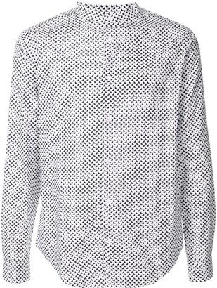 Emporio Armani Mandarin Collar Monogram Print Shirt