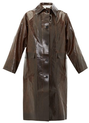 Kassl Editions Skai Faux-leather Trench Coat - Dark Brown