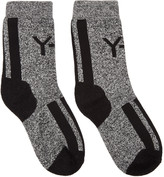 Y-3 White & Black Marled Logo Socks