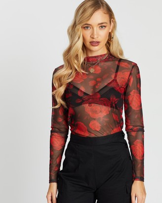 Missguided Mesh High Neck Top