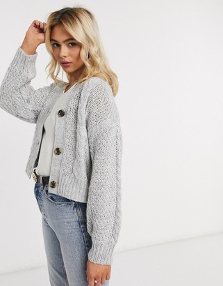 JDY kenya cable knit cardigan in gray