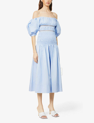 Self-Portrait Puff-sleeve cotton midi dress