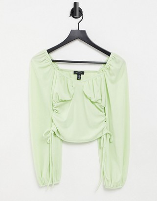 New Look ribbed ruched side bust detail top in pistachio