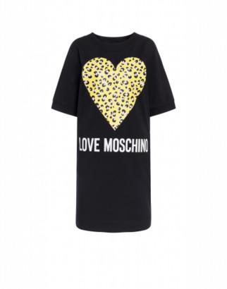 Love Moschino Fleece Dress Leopard Heart Woman Black Size 38 It - (4 Us)