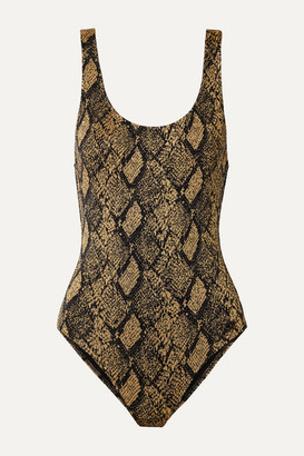 Solid & Striped The Anne-marie Stretch Jacquard-knit Swimsuit - Snake print