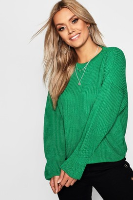 boohoo Plus Cuff Detail Fisherman Sweater